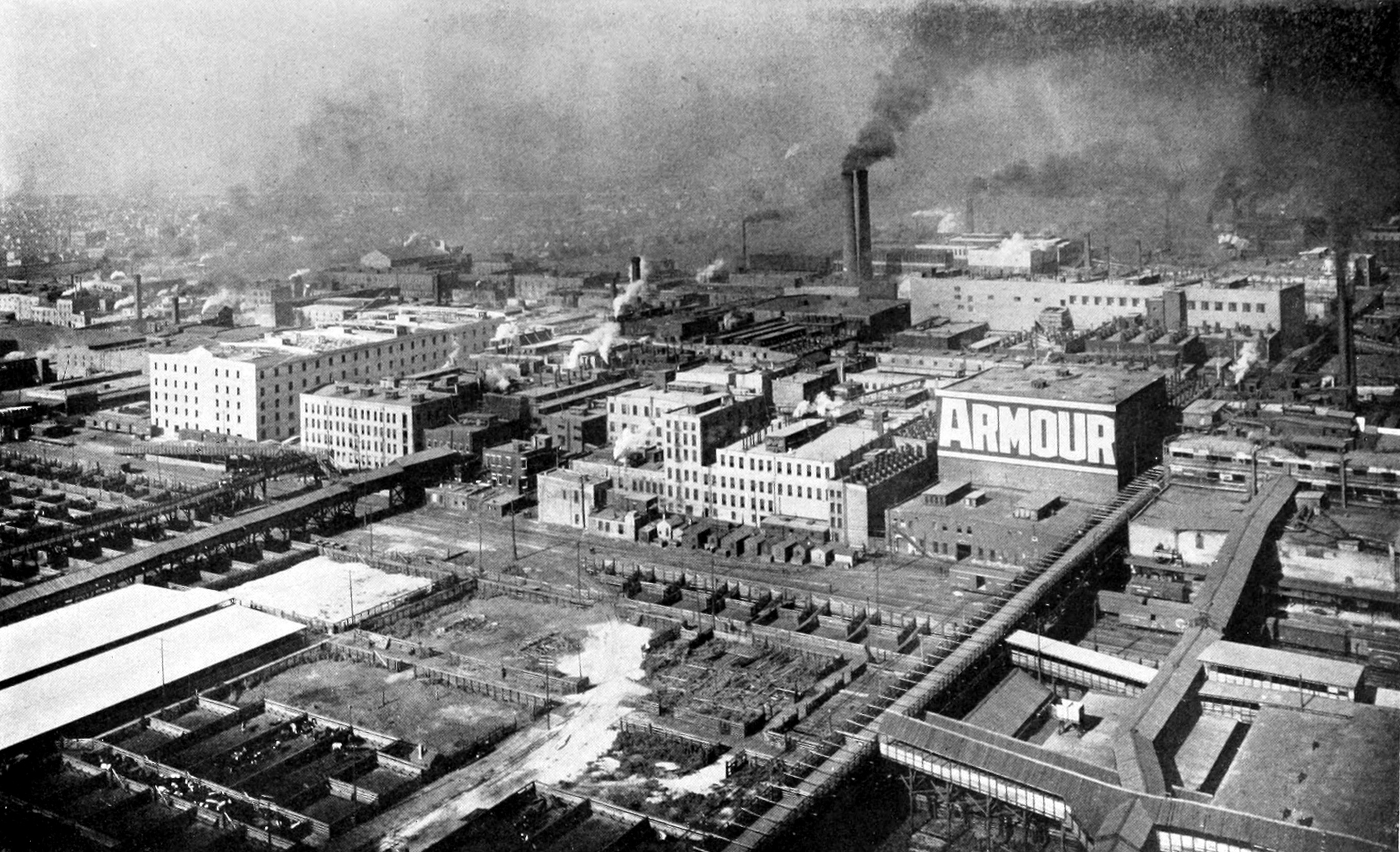 View of Armour's plant and stockyards from a balloon, circa 1910. (Wikimedia)
